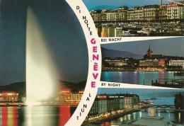 Suisse. CPM. Genève La Nuit (4 Vues) (le Jet D'eau) - GE Genève