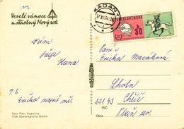 L1596 - Czechoslovakia (1974) Kadan 1 (postcard); Tariff: 30 H (stamp: 100 Years U.P.U. 1874-1974 - Logo, Postilion) - UPU (Union Postale Universelle)