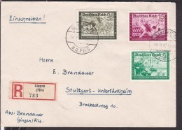 Einschreibbrief Deutsches Reich Stempel Gingen Nach Stuttgart -untertürkheim 1940 - Covers & Documents