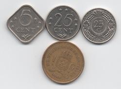 Antilles Néerlandaises : Lot De 4 Pièces 1975-1999 - Antillen (Niederländische)