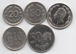 Equateur : Lot De 5 Pièces 1975-1991
