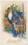 Pere Noel Robe Bleue Avec Daim Santa Claus Blue Robe With Deer - Santa Claus