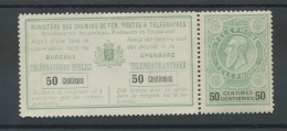 Tel Avec Souche  50c  Cote 95 E   Charnière Sur Bandelette Mais Pas Sur Le Timbre - Telefoonzegels