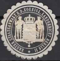 Siegelmarke Vignette Oblate: Erster Staatsanwalt B.d. Königl. Landgericht Berlin II - Cachets