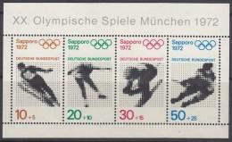 """BRD Block 6, Postfrisch **, Mit Abart: Schwarze Punkte In  """"E""""s Von """"DEUTSCHE BUNDESPOST"""",Olympische Spiele Sapporo 1972 - Bloques"""