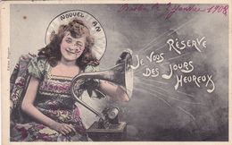 CPA Fillette Gramophone Phonographe Musique Music Nouvel An Fantaisie Illustrateur - New Year