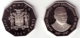 JAMAICA - 50 Cents 1987   GARVEY CENTENNIAL  - KM#132  Proof  [Very Rare Type] - Jamaique