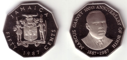 JAMAICA - 50 Cents 1987   GARVEY CENTENNIAL  - KM#132  Proof  [Very Rare Type]
