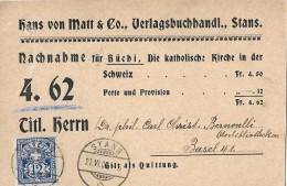 NACHNAHME → Hans Von Matt & Co. Verlagshandel Stans  ►nach Basel 23.06.1902◄ - Ganzsachen