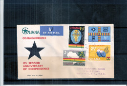 Registered FDC From Accra(Ghana) To USA - Second Anniv. Of Independence - Complete Set (to See) - Ghana (1957-...)