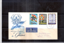 Registered FDC From Accra(Ghana) To USA - First Anniv.of The Republic - Complete Set (to See) - Ghana (1957-...)