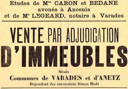 VP6524 - Affiche 30 X 42 - Etude De Mes CARON & BEDANE - Vente D'Immeubles Situés à VARADES & ANETZ - Posters