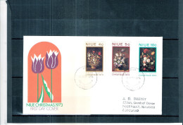 FDC From Niue To Scotland - Christmas 1973 - Flowers - Complete Set  (to See) - Niue