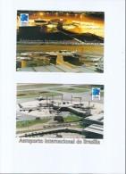 BRAZIL - BRASÍLIA INTERNATIONAL AIRPORT - AIRPLANE - 2 POSTCARDS - Brasilia