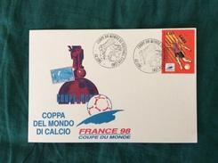 Cartoncino Speciale France 98 Con Annullo 1° Giorno Di Emissione Sul Francobollo Di Lens - Coupe Du Monde