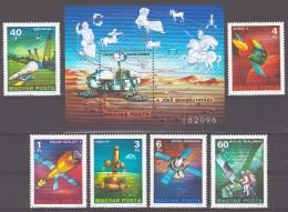 Hungary 1977 Ungarn Mi 3214-19 + Block 125(3220) Space Exploration / Weltraumforschung **/ MNH - Space