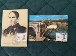Coppia Di Cartoline Maximum 2° Centenario Nascita Giuseppe Gioachino Belli 15-4-1991 - Cartoline Maximum