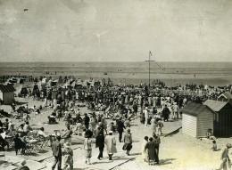 France Côte D'Opale Le Touquet Bords De Mer La Plage Cabines Ancienne Photo 1930's - Places