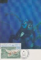 Carte Maximum  1er  Jour   T.A.A.F    Plongée   1989