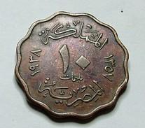 Egypt 10 Milliemes -1938 - King Farouk - Egitto