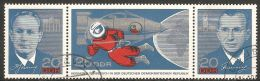 East Germany / DDR 1965 Mi# 1138-1140 Used - Visit Of The Russian Astronauts To The German Democratic Republic / Space - Europe