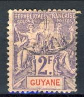 Guyane  1900 - 04 N. 48 F. 2 Violetto Su Rosa Usato Catalogo € 10 X - Guyana Francese (1886-1949)