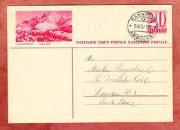 P 168 Ziffer, Abb: Champery - Valais, Basel Per Bahnpost Ambulant Nach London 1936 (33750) - Ganzsachen