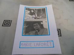 AUTOGRAPHE DÉDICACÉ ET AUTHENTIQUE DE MARIE LAFORET SUR COUPURE DE PRESSE COLLÉE SUR CARTON BRISTOL -15 X 21 Cm - Autographes