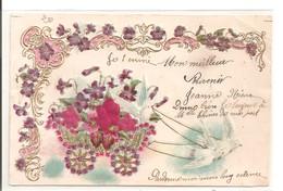 Carte Fantaisie Gaufrée: Fleurs En Tissu Sur Un Chariot, Tiré Par 2 Colombes - Fantaisies