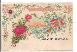 Carte Fantaisie Gaufrée: Fleurs En Tissu, Poignée De Mains - Fantaisies