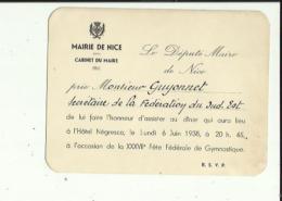 Carte Du Maire De Nice 06 ( Prie Mr GUYONNET  Secretaire De Federation Du Sud-Est D'Assiter Au Diner A HOTEL_NEGRESCO - Mercati, Feste