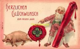 CPA  EN RELIEF GAUFREE COCHON EMBOSSED CARD PIG  LUTIN NAIN GNOME DWARF MSIB 13664 - Cochons