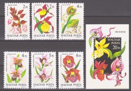 Hungary 1987 Ungarn Mi 3922-3927 + Block 192(3928) Orchids **/MNH - Orchidées