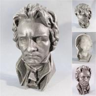 ~ TETE BEETHOVEN EN FONTE NOIRCIE # Musicien Musique Statue - Autres