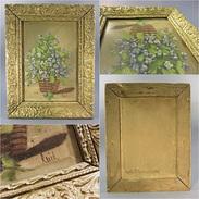 *TABLEAU PANIER FLEURI - Peinture Cadre Fleur Huile - Gouaches