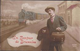 Un Bonjour De Bruxelles (Fold) Train A Vapeur Stoomtrein Streamtrain Trein Brussel Carte Fantaisie CPA Fantasiekaart - Transport Urbain En Surface