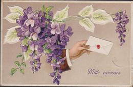 1907 Main Hand Lettre Brief Mano Letter Bloem Fleurs Flowers Gaufree Relief Embossed Fantaisie Fantasiekaart Carte CPA - Fleurs