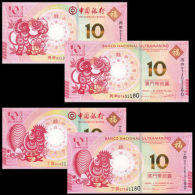 MACAU MACAO SET 4 UNC 10 PATACAS 2016 / 2017 NEW CHICKEN ROOSTER MONKEY BNU BOC - Macao