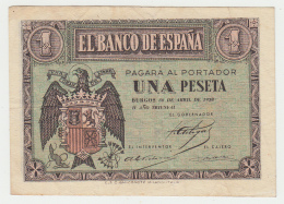 SPAIN 1 PESETA 1938 VF++ Pick 108 - [ 3] 1936-1975 : Régence De Franco