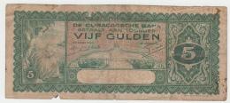 CURACAO 5 GULDEN 1939 Fair PICK 22 - Netherlands Antilles (...-1986)