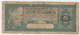 CURACAO 5 GULDEN 1939 Fair PICK 22 - Nederlandse Antillen (...-1986)