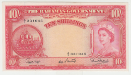 Bahamas 10 Shillings 1953 AUNC+ Pick 14b  14 B - Bahamas