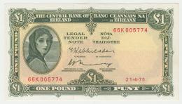 Ireland 1 Pound 1975 AUNC Pick 64c  64 C - Ireland