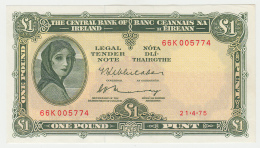 Ireland 1 Pound 1975 AUNC Pick 64c  64 C - Ierland