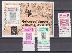 Solomon Islands 1979 Sir Rowland Hill 3v + M/s  ** Mnh (33842) - Solomoneilanden (1978-...)