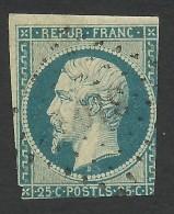 France, 25 C. 1852, Sc # 11, Mi # 9a, Used - 1852 Louis-Napoleon