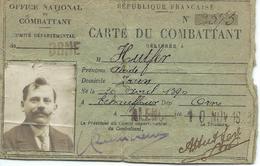 Carte Du Combattant 1914 1918 Caporal Alcide Alphonse Armand Hutfer Né Dans L'Orne - Documentos Históricos