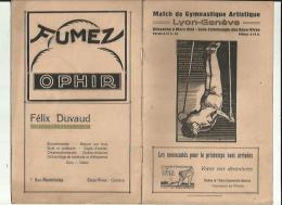 LYON_GENEVE _ Match De Gymnastique Artistique - A C G D A _le Dimanche 9 Mars 1930 Aux Eaux_Vives__Voir Scan Publicité - Gymnastique