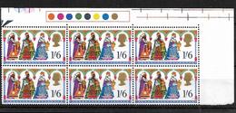 "GB 1969 QEII Christmas 1/6d MNH Corner Block Of Six, With ""Broken Arch"" Variety (4828) - Blocks & Miniature Sheets"