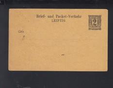 Dt. Reich Privatpost PK Leipzig 2 Pfennig Ungebraucht - Privatpost